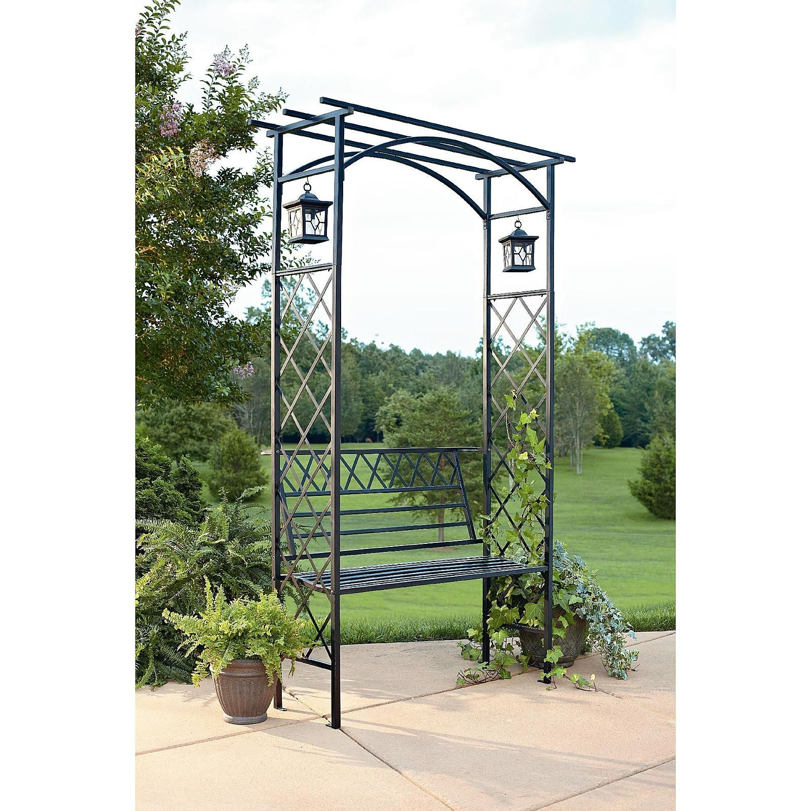 Garden Oasis Lattice Arbor with Bench and Two Lanterns - Outdoor ...