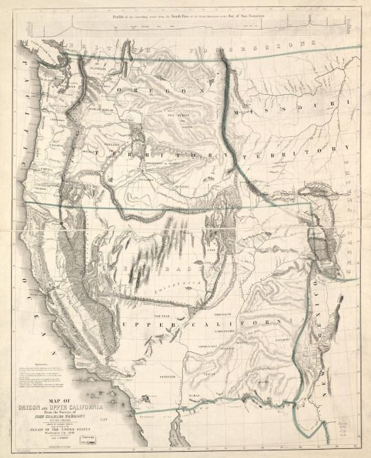 Map of Oregon and upper California from the surveys of John Charles Frémont, 1848.