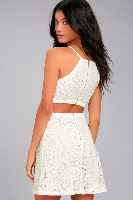 06e5009c74 Nothing is impossible in the Defying Gravity White Lace Skater Dress! Lovely  floral lace overlays