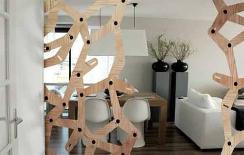 beweglicher raumteiler trennwand designs holz formen loch industriell studio