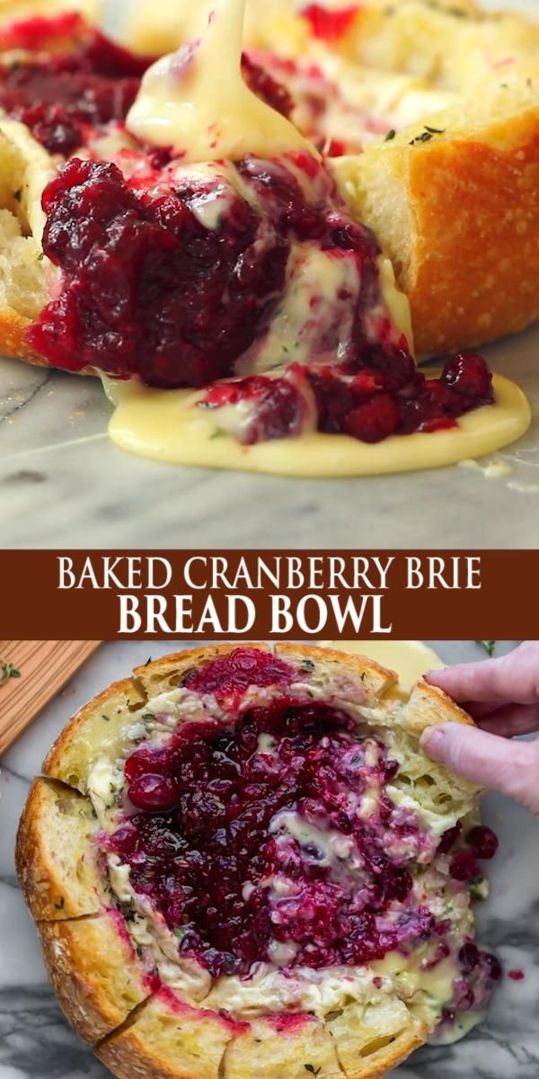 BAKED CRANBERRY BRIE BREAD BOWL -   23 thanksgiving recipes videos appetizers desserts ideas