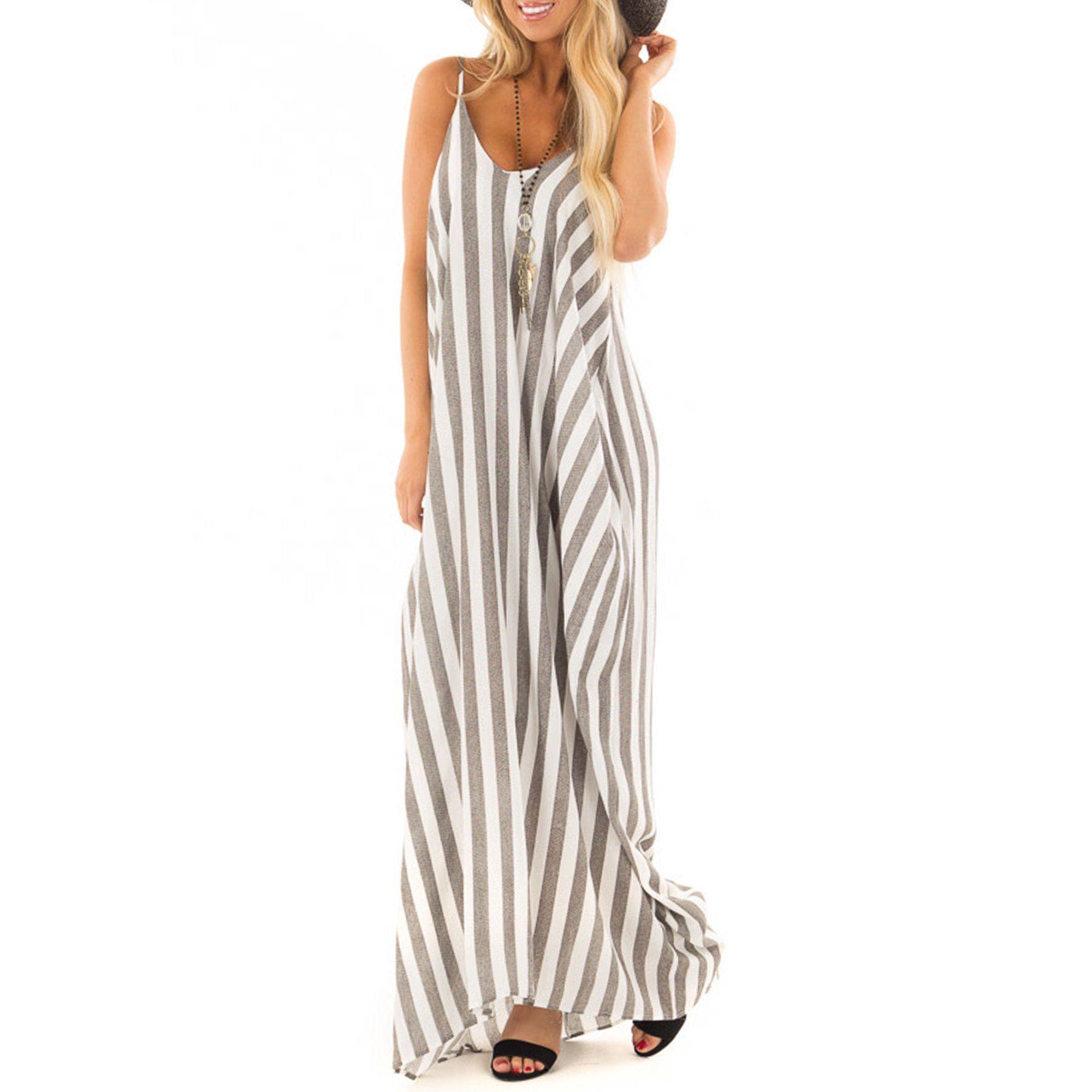Ukap Women Boho Summer Striped Long Maxi Dress Loose Baggy Casual Beach Holiday Cocktail Party Spaghetti Strap Slin In 2021 Maxi Dress Style Maxi Dress Maxi Sundress [ 2000 x 2000 Pixel ]