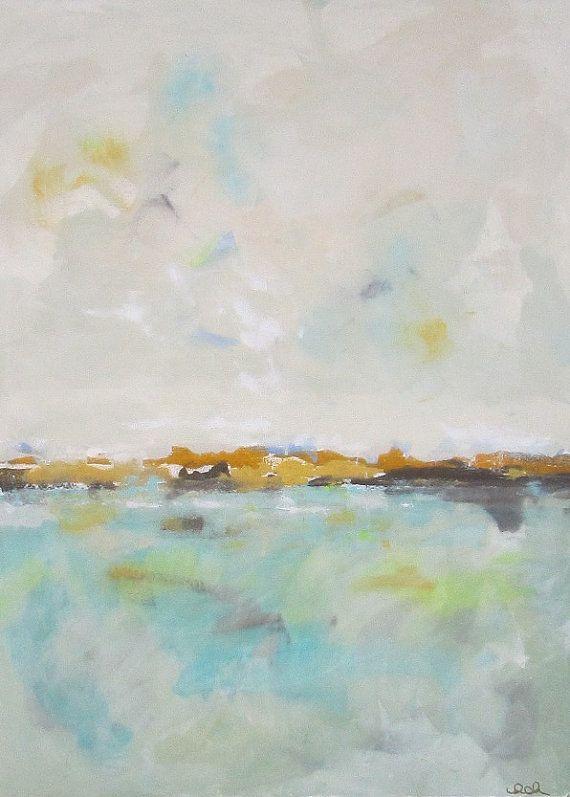 Coastal Abstract Minimalist Landscape Painting Rush Creek