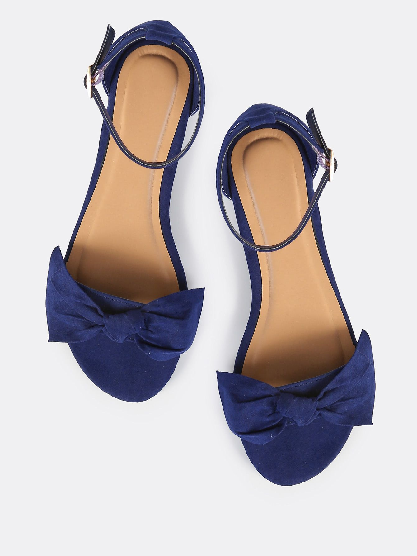 dc398afeb2d9 Shop Open Toe Bow Sandal Flats NAVY online. SheIn offers Open Toe Bow  Sandal Flats NAVY   more to fit your fashionable needs.