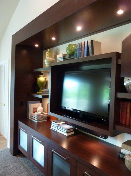 Very modern dark brown wood grain home entertainment center  Home