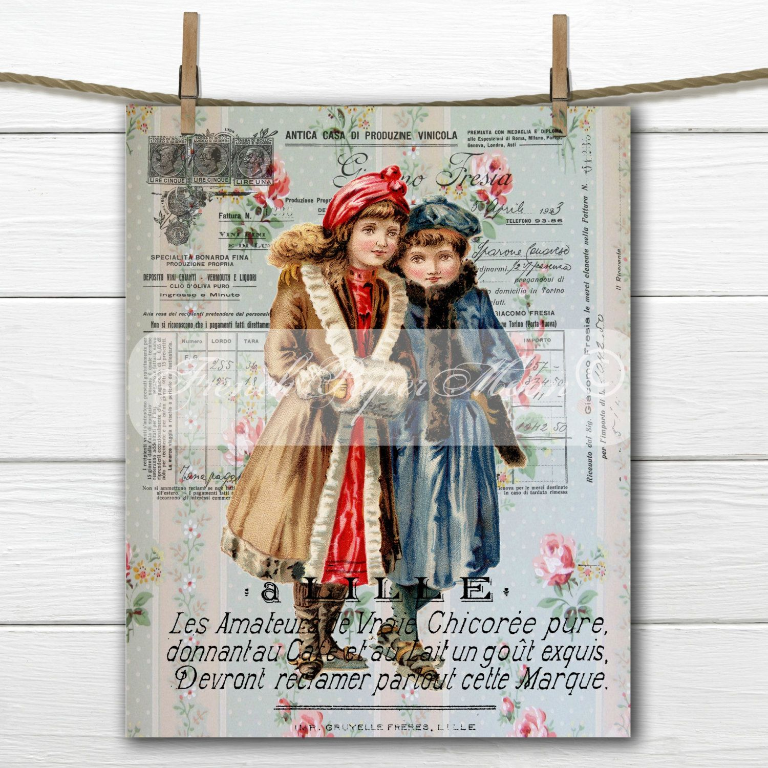 Digital Vintage Ice-skating French Graphic, Victorian Girls, Ice-Skating, Instant Download French Fabric Transfer Image by FrenchPaperMoon on Etsy