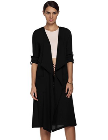 8. Women's Long Waterfall Draped Long Sleeve Chiffon Cardigan with ...