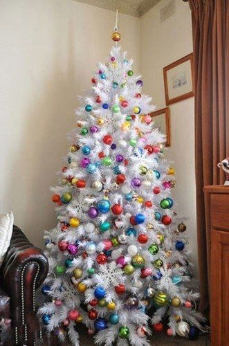 Christmas tree - white tree with colorful ornaments