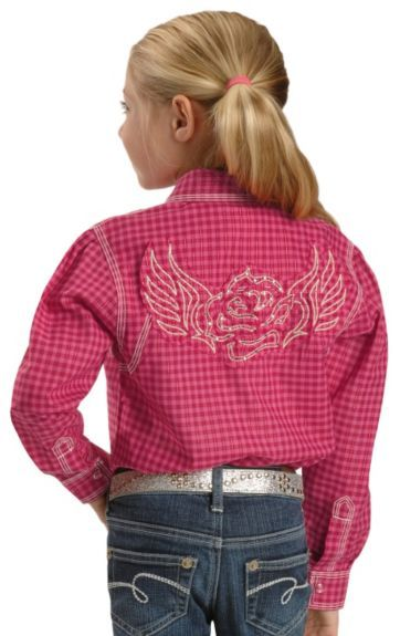 6f52ec82feff50 Wrangler Girls Curved Yoke Embroidered Back Western Shirt - 5-16 available  at  Sheplers