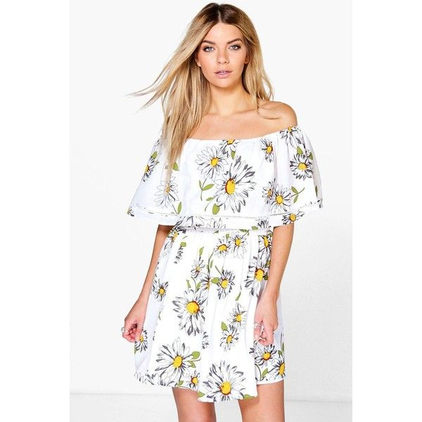 2a5a64be3d92 Boohoo Amy Sunflower Frill Off The Shoulder Skater Dress ( 35) ❤ liked on  Polyvore