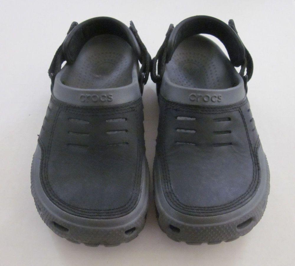 6e9fee2300b9 CROCS Men s Black Gray Yukon Mesa Adjustable Leather Rubber Clog Size 7 M   Crocs  MenClog