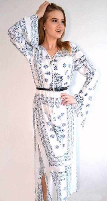 7b133cb169 Vestido Longo Azulejo Português - Compre Online | DMS Boutique ...