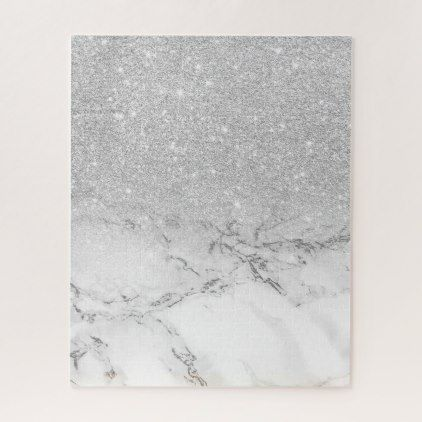 Modern Faux Grey Silver Glitter Ombre White Marble Jigsaw Puzzle Marble Gifts Style Stylish Nature Unique Glitter Wall Art Silver Wall Art Unique Canvas Art