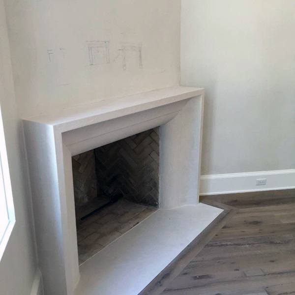 Interior Astonishing Concrete Fireplace Hearth Encounter Surround For The Home Pouring Paint Diy Pr Transitional Fireplaces Concrete Fireplace Modern Fireplace