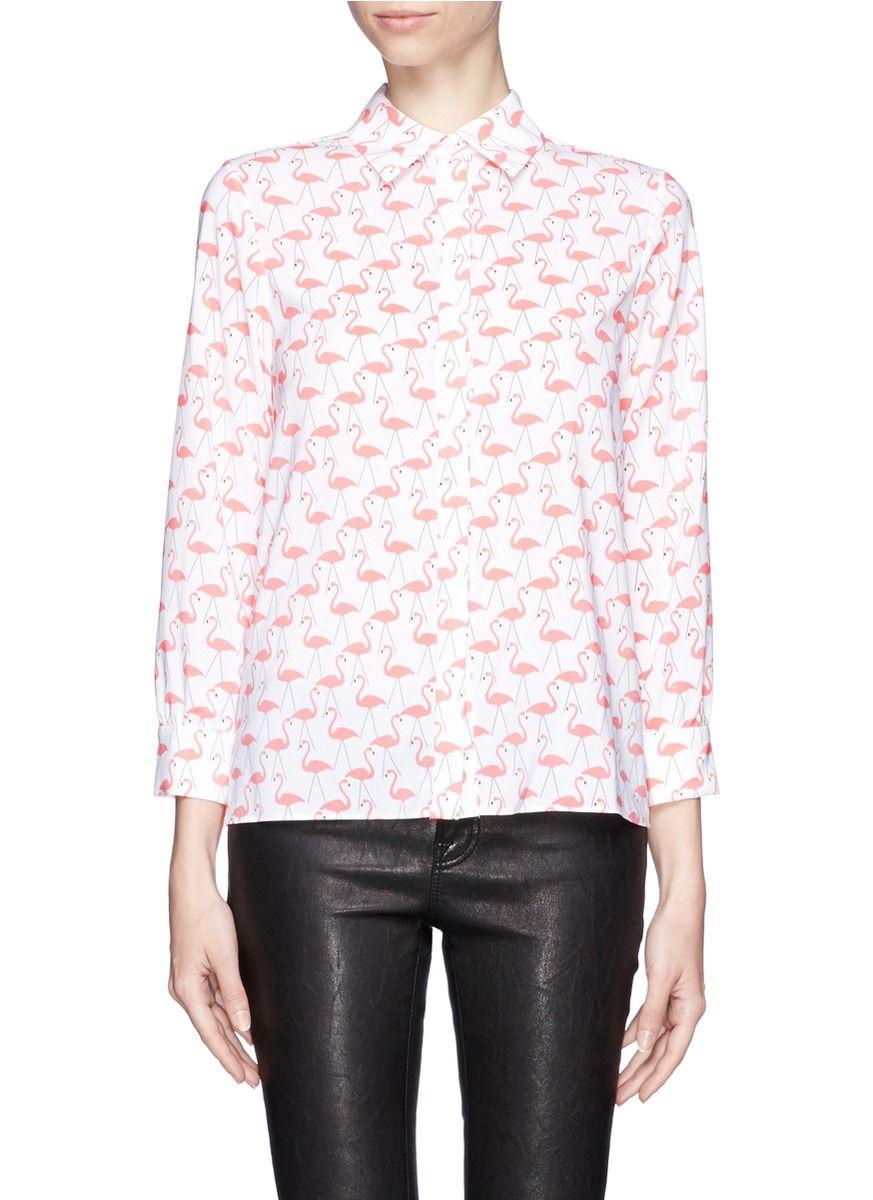 651091f4939cf ALICE + OLIVIA - Willa flamingo print shirt