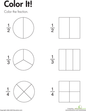 fraction practice color it  educationmath  pinterest  math  to complete this second grade math worksheet kids color parts of shapes to  show the fractions   and