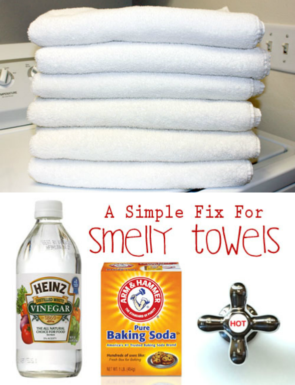 "A Simple Solution For Better Smelling, More Absorbent Towels. Over time, your bath towels will build up detergent and fabric softener residue. This not only attracts SMELLY mildew, it can essentially ""waterproof"" your towels. If water can't get into the fabric to clean it, the towel won't BE or SMELL clean. The GOOD news is that there is a very simple solution for getting rid of the build-up (and thus the SMELL)!"