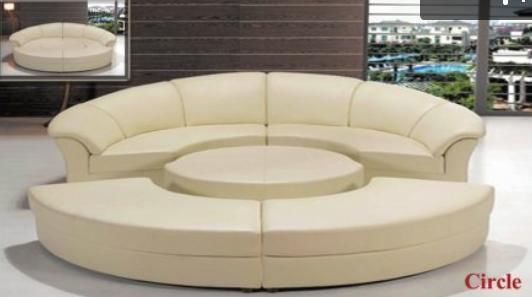 Chic Modern 2276 White Leather Circular Sectional Sofa Contemporary in Sofas, Loveseats & Chaises | eBay