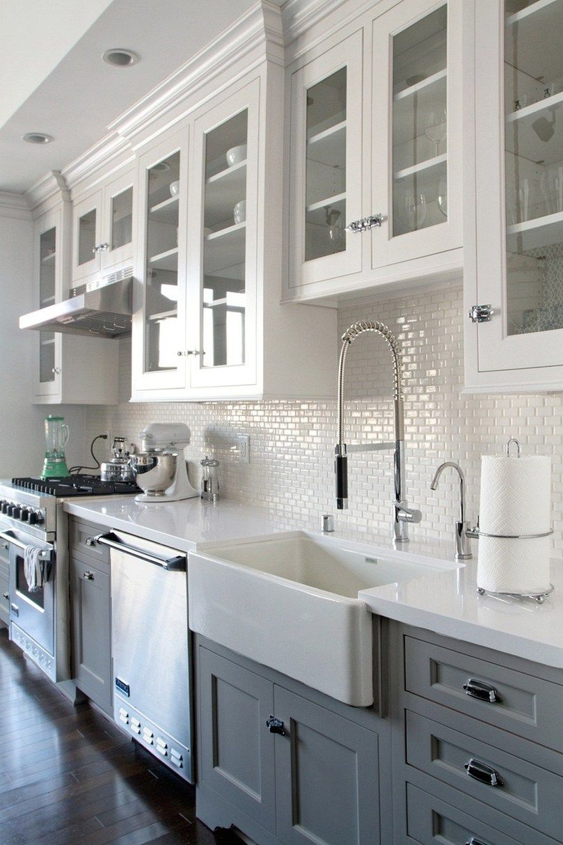 Lovely Farmhouse Backsplash Ideas Part - 7: 123 Cozy And Chic Farmhouse Kitchen Cabinets Ideas (9)