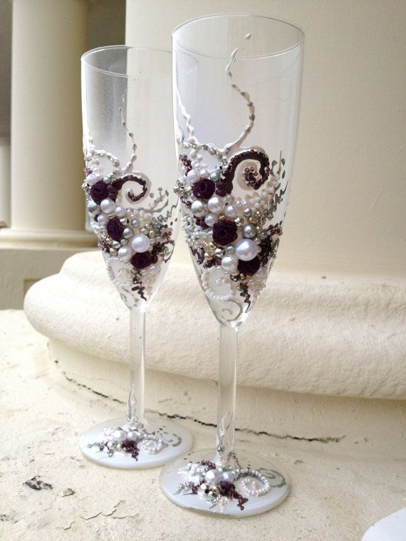 Wedding champagne flutes in plum silver and white hand decorated