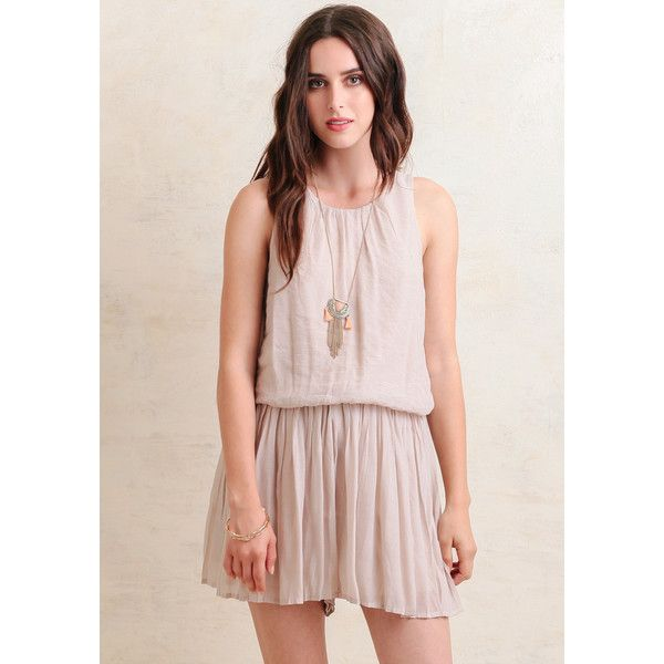Ruche Best Of Me Pleated Romper (33.535 CRC) ❤ liked on Polyvore featuring jumpsuits, rompers, beige, pink rompers, playsuit romper, ruffle romper and pink romper