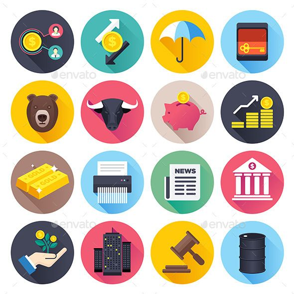 Finance and Stock Market Flat Icons — JPG Image #graphic #stock • Available here → https://graphicriver.net/item/finance-and-stock-market-flat-icons/9458174?ref=pxcr