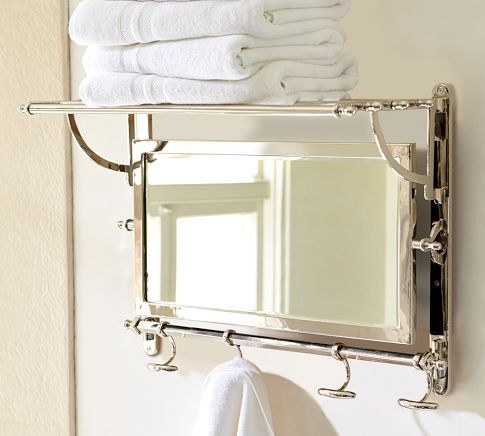 Features Constructed Of Brass Stainless Steel And Beveled Mirror Rack Has An Upper Shelf Bathroom Mirror With Shelf Pottery Barn Mirror Mirror