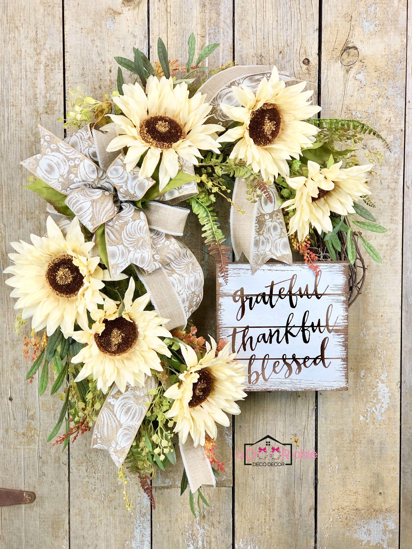 Photo of White sunflower wreath, autumn sunflower wreath for the front door, autumn flower wreath for the front door, autumn farmhouse wreath for the front door