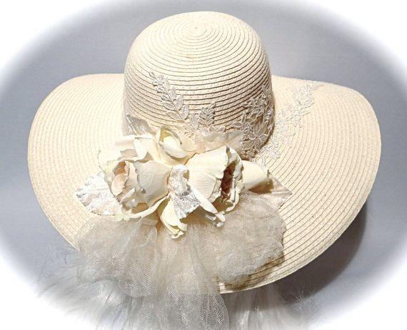 13255558f7568 Cream Bridal Hat Wedding Accessories Derby Sun Hat Women s Hats BH ...
