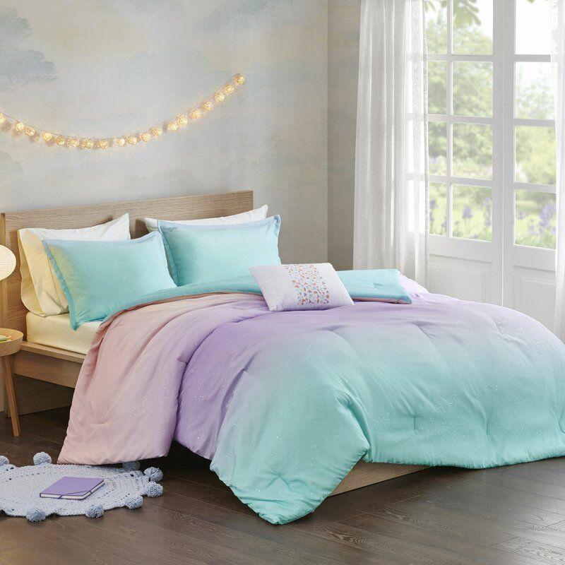 Estee Printed Reversible Comforter Set In 2020 Reversible Duvet Covers Comforter Sets Aqua Bedding