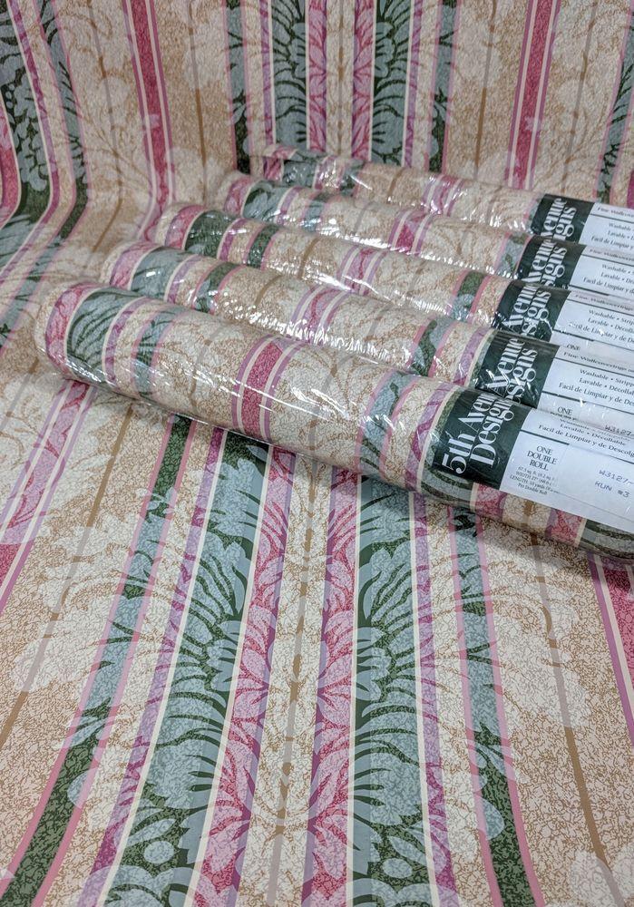 5th Avenue Designs Wallpaper Damask Stripe Floral Tan