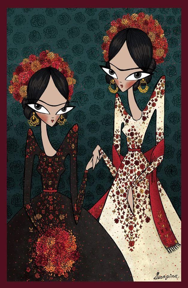 """""""Las dos Fridas"""" #Frida #Ilustracion #Art por geochavez"""