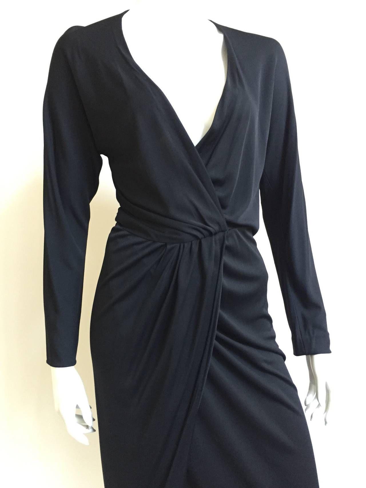 Halston 70s Black Jersey Wrap Dress Size 4 1stdibs Com Evening Dresses Wrap Dress Jersey Wrap Dress [ 1706 x 1280 Pixel ]