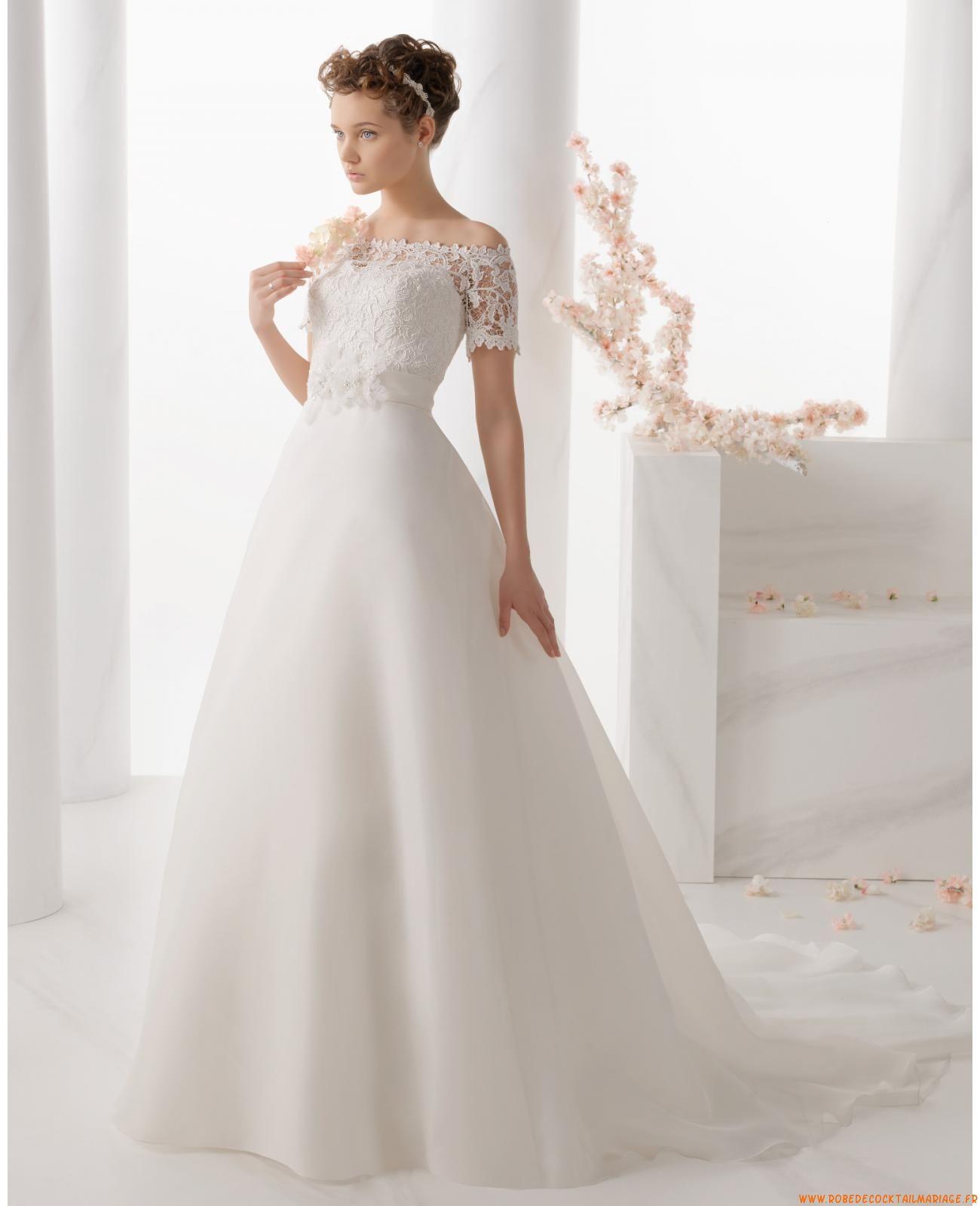Robe de mariée princesse organza manches dentelle col bateau | robe ...