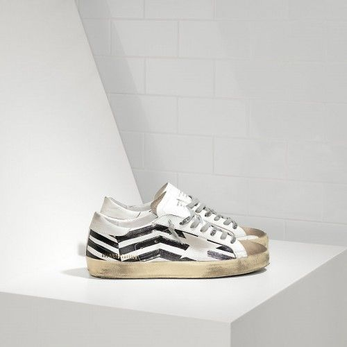 1413c7409e00 2016 Nouvelle Soldes Golden Goose Super Star Chaussures In Leather With  Screen Printed Star Homme Blanc Noir Pas Cher En Ligne