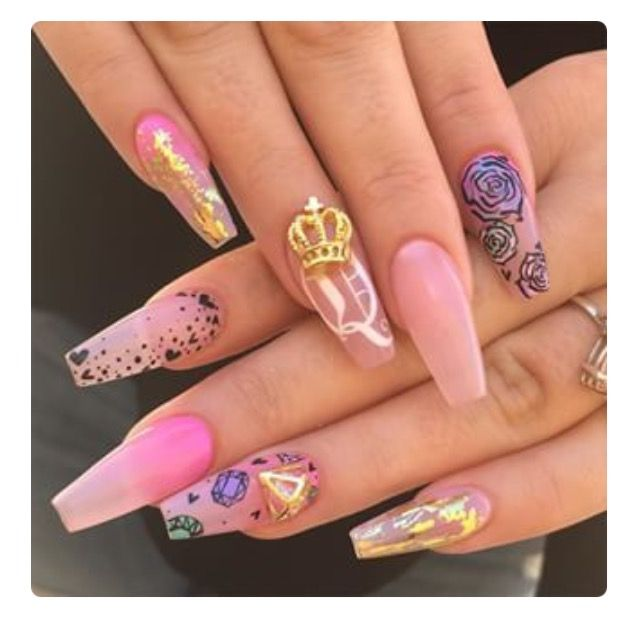 Super cute pink nails with han - Want To Get These Done Soon! Nails Art Pinterest Nail Nail