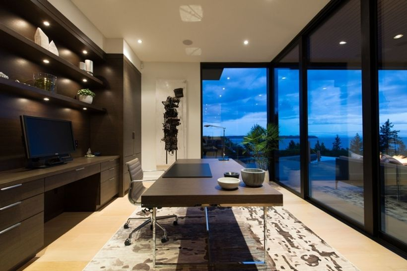 Elegant Modern House In West Vancouver Canada Escritorios - Burkehill residence canada