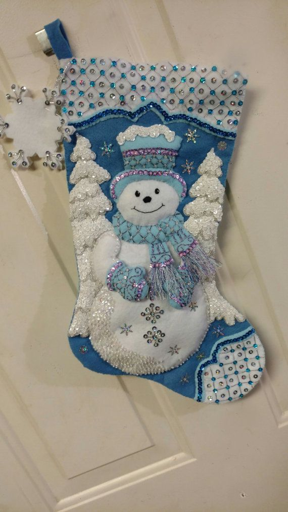 Bucilla finished Stocking Snowflake Snowman | botas ...