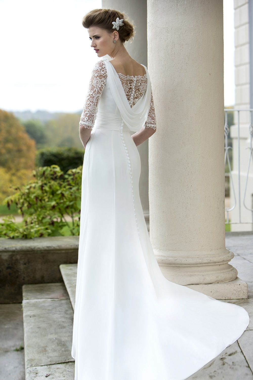 Cowl back lace wedding dress  W  NEW COLLECTION IN STORES NOW Slim and elegant Chiffon gown