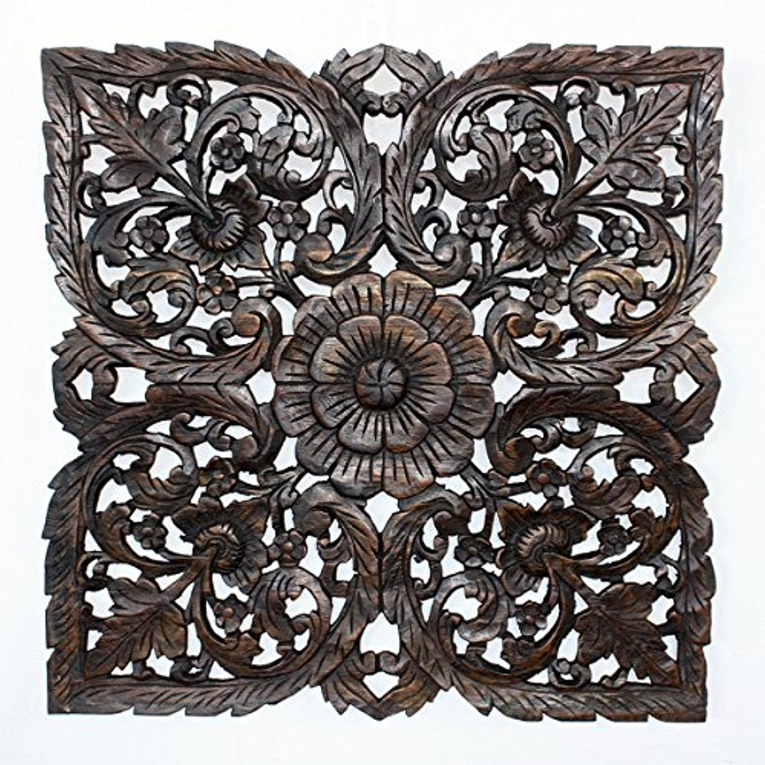 Black carved inlay square lotus panel thailand awesome products