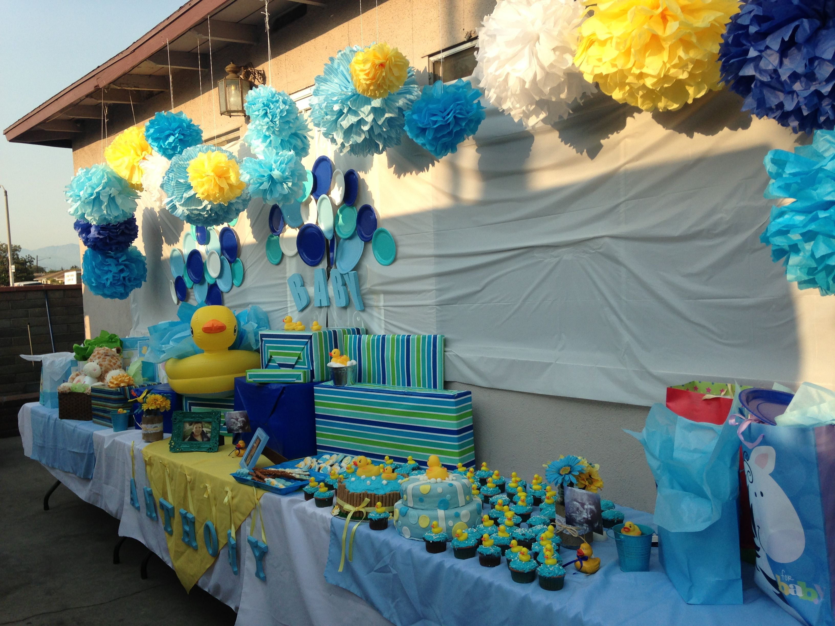 Rubber duck baby shower diana 39 s rubber ducky baby shower for Baby shower decoration ideas for a boy baby