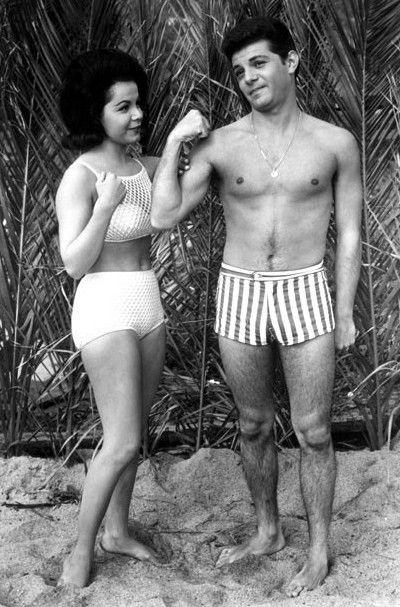 annette funicello beach movies - Frankie Avalon & Annette Funicello stars of the 1960s Beach Party movies  clowning around on set