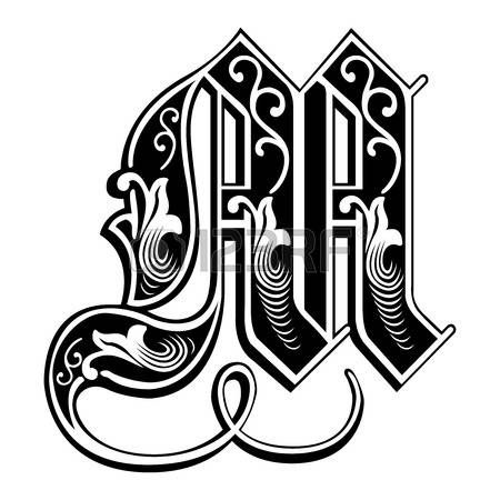 Beautiful Decoration English Alphabets Gothic Style Letter M Vector