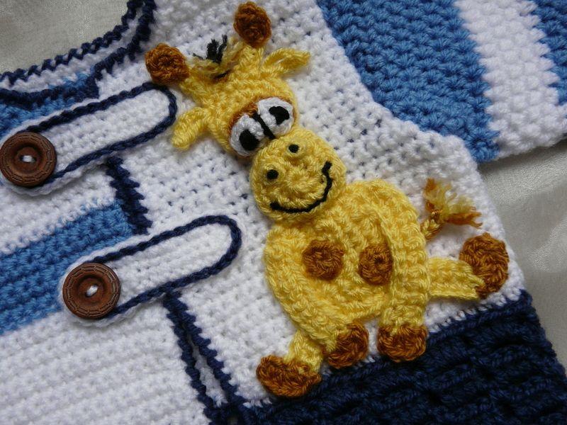 Vesten - Gehaakt Baby Vestje Giraf 0 - 9 mnd - Een uniek product van KnitsforKids op DaWanda