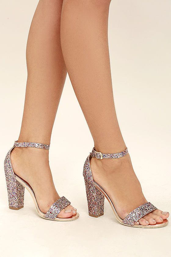 9588156ac90c The Starla Colorful Pink Glitter Ankle Strap Heels were made for a night of  dancing! Pink
