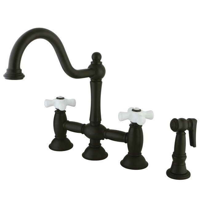 View The Kingston Brass KS379.PXBS Restoration Bridge Kitchen Faucet With  Porcelain Cross Handles And