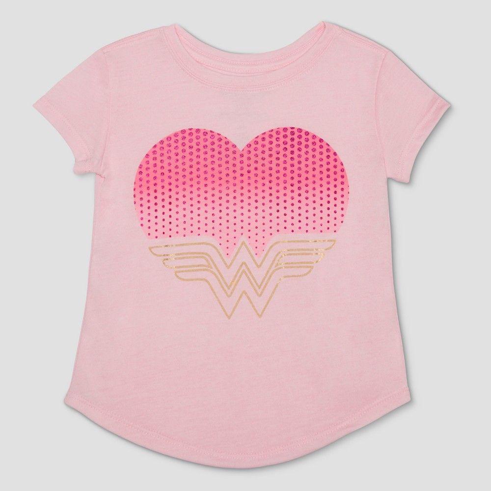 14d8928d Toddler Girls' Wonder Woman Short Sleeve T-Shirt - Light Pink 12 Months,  Size: 12M
