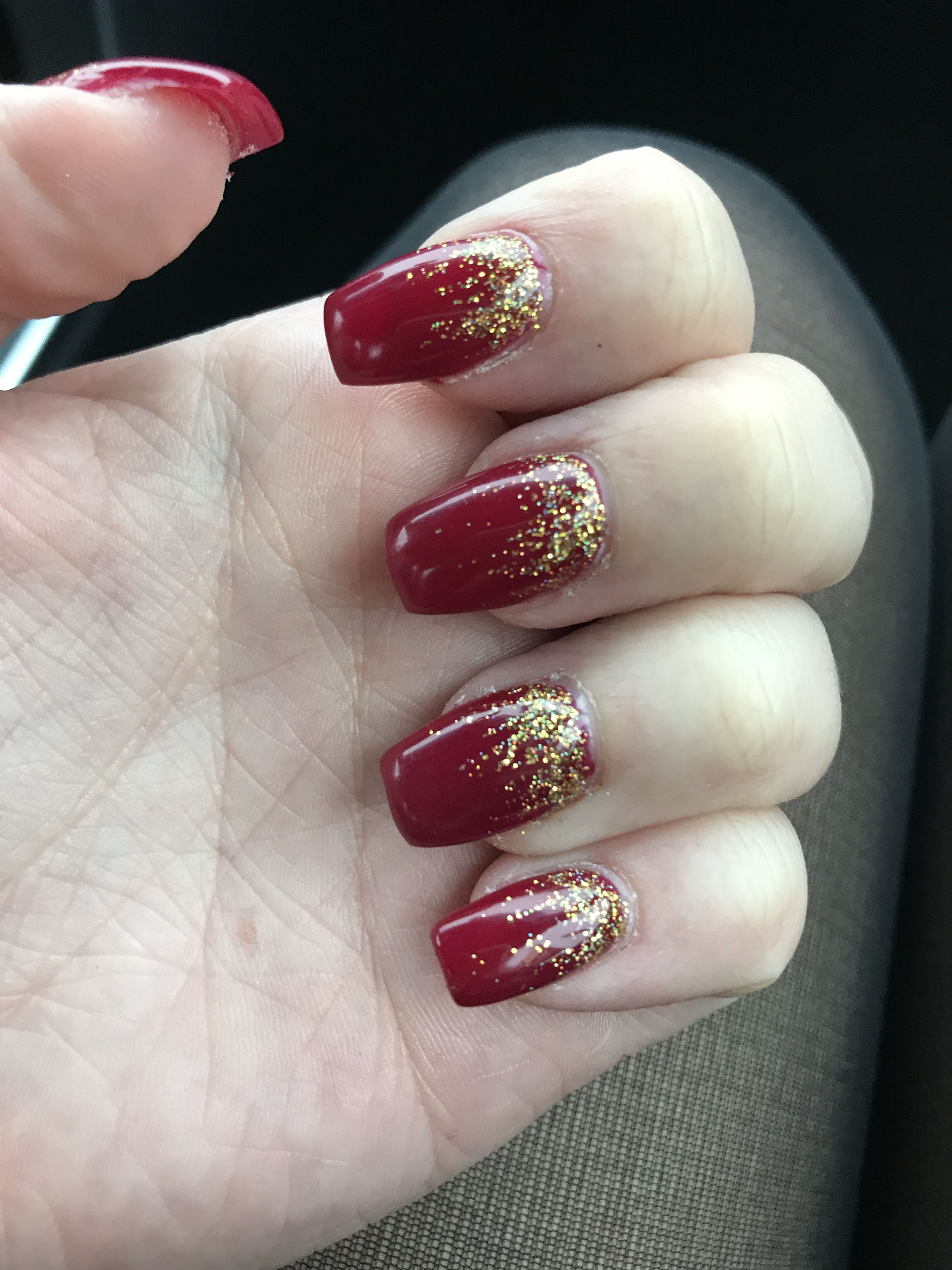 Coffin Shaped Red And Gold Ombre Sparkle Acrylic Nails Sparkle Acrylic Nails Red And Gold Nails Red Sparkle Nails