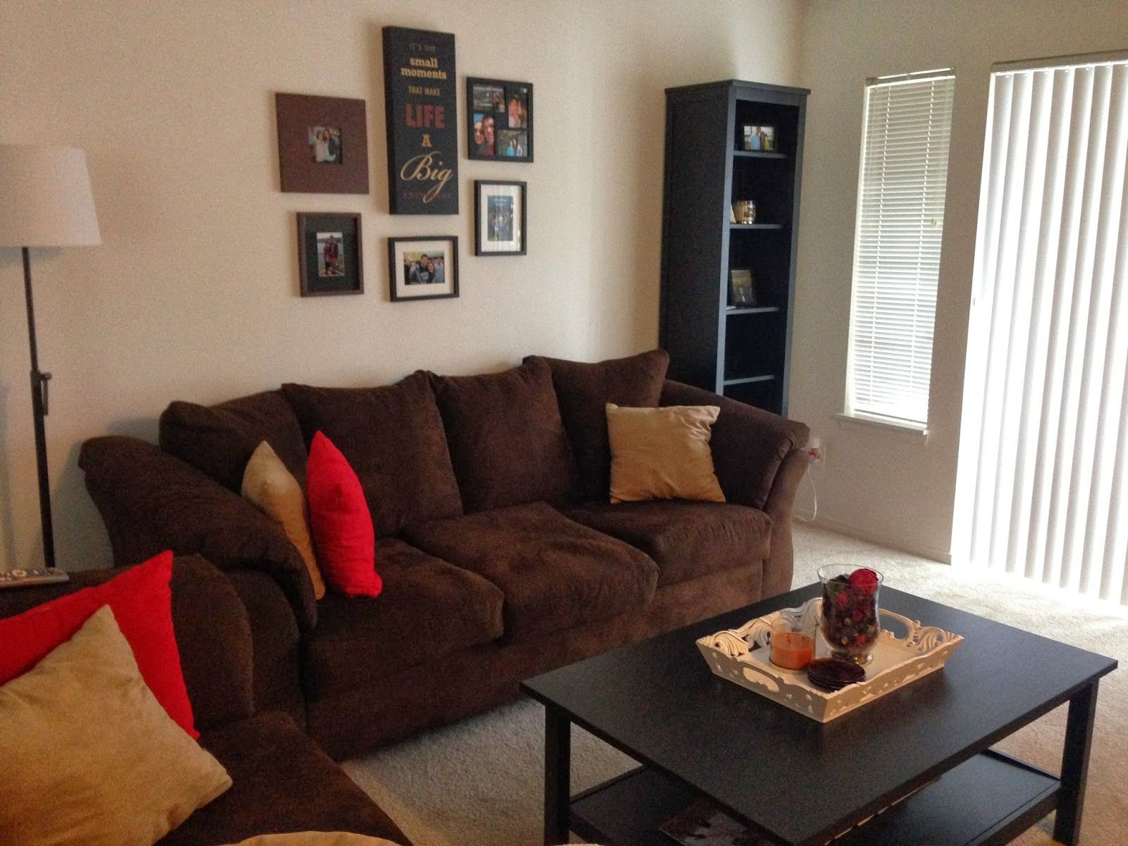 Living Room With Brown Couch Red Walls Google Search Living