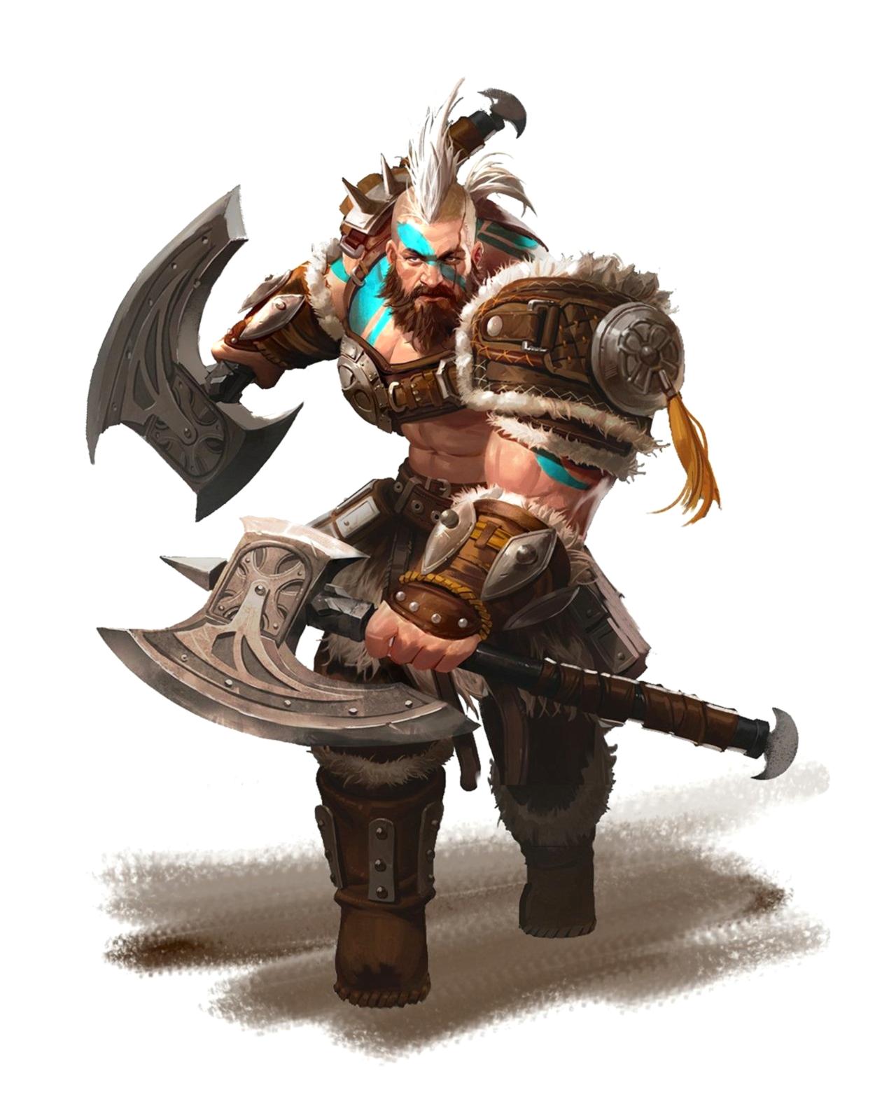 Male Human Barbarian Berserk Dual Axe wielding - Pathfinder